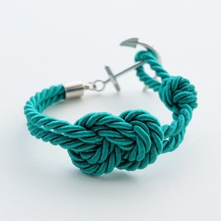 Infinity-knot with nautical hook bracelet in SEA GREEN
