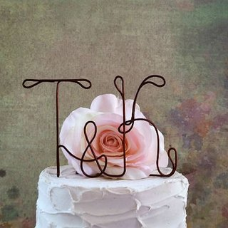 Personalized Initials Wedding Cake Topper, Rustic Wedding Cake Topper, Shabby Chic Wedding Cake Topper, Wedding Cake Topper
