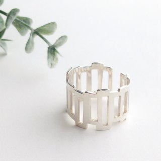 [Order production] ring / 950 silver elongated square contiguous ※ 7-20 No. <unisex>