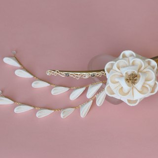 Romantic regular silk camellia hair clip white detachable type knob with slope knife