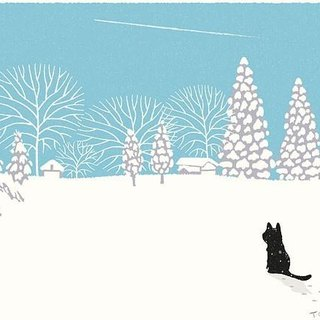 Tabineko illustration print (A3 size) |. 01 winter of contrails | Posters