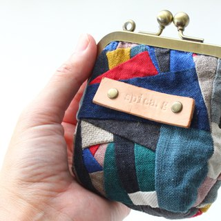 A purse  Coin case  Linen patchwork.