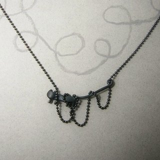 "miaow in a tangle "" oxdized black "" ( cat silver pendant necklace 貓 猫 銀 垂饰 )"