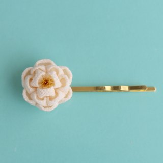 Pure silk petit camellia hairpin white