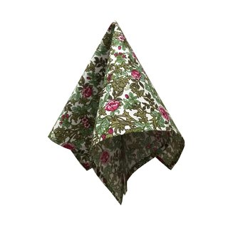 CAVEMAN Pocket Square - Green Forest w Flower