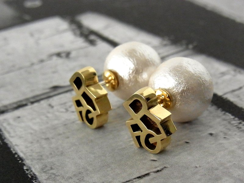 Floral cotton pearl 2WAY earrings / brass