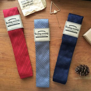 Red Grey Blue Stripe Knitted Tie
