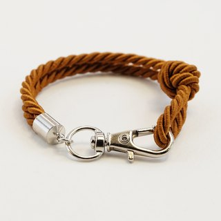 Silver clip bracelet in cinnamon brown color