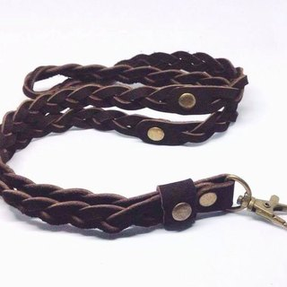 Braided leather neck strap, strap leather braided dark brown.