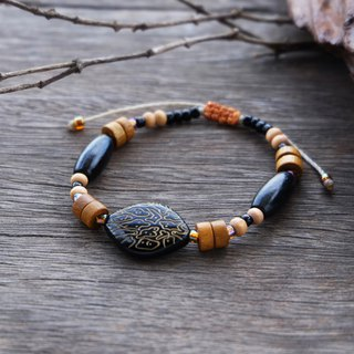 Natural brown wooden and seed bead string bracelet