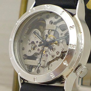 "Handmade watches HandCraftWatch Hand winding Silver Mens Handwinding silver men's ""Explorer - SHW"" [SV / BK SHW 027]"