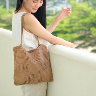Crochet Polka Dot Tote Bag | Caramel