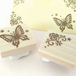 Corner decorated sticker set with butterfly and roses