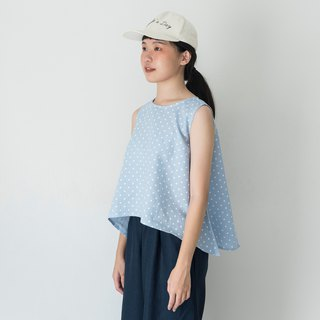 Blue Polka Dot Linen Sleeveless Shirt