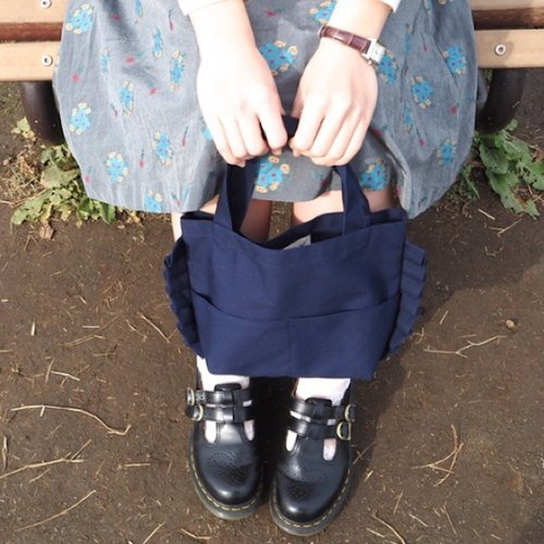 Mini Pleated Bag (Navy)