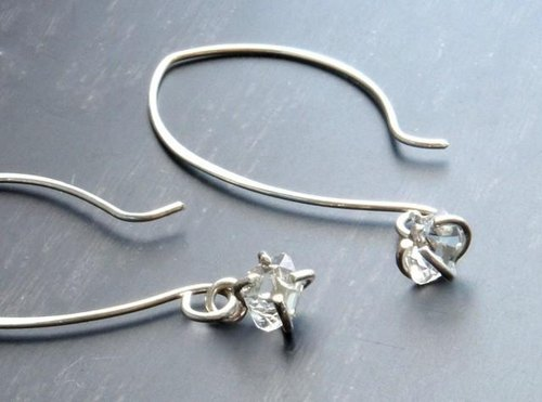 Herkimer Diamond Long Earrings Silver