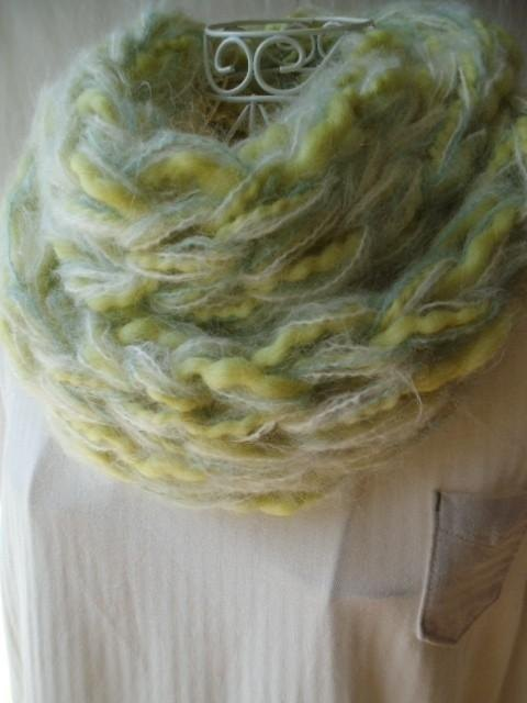 Re-exhibition, 100% wool fluffy ♪ snood (green oasis)