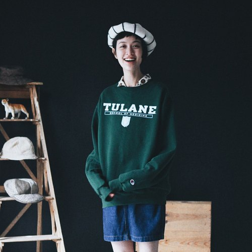 A ROOM MODEL - VINTAGE,CG-0626 Champion TULANE墨绿大学Tee