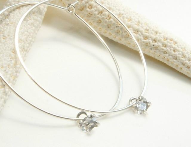 Herkimer Diamond Silver large hoop earrings