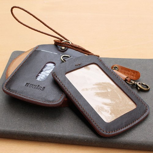 ID case / Key card case / Card case / Card holder - ID 1 -- Dark Brown + Tan Lanyard (Genuine Cow Leather)