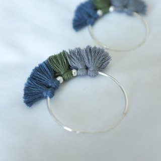 Navy grey Hoop earring navy green grey tassels