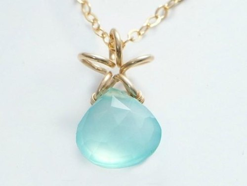 Aqua Blue chalcedony necklace 14KGF