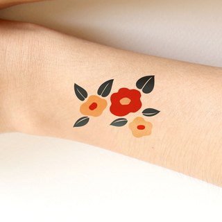Red flower pattern sticker tattoo.