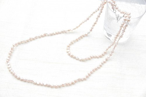 Baby pink small pearl long necklace (2waytype)