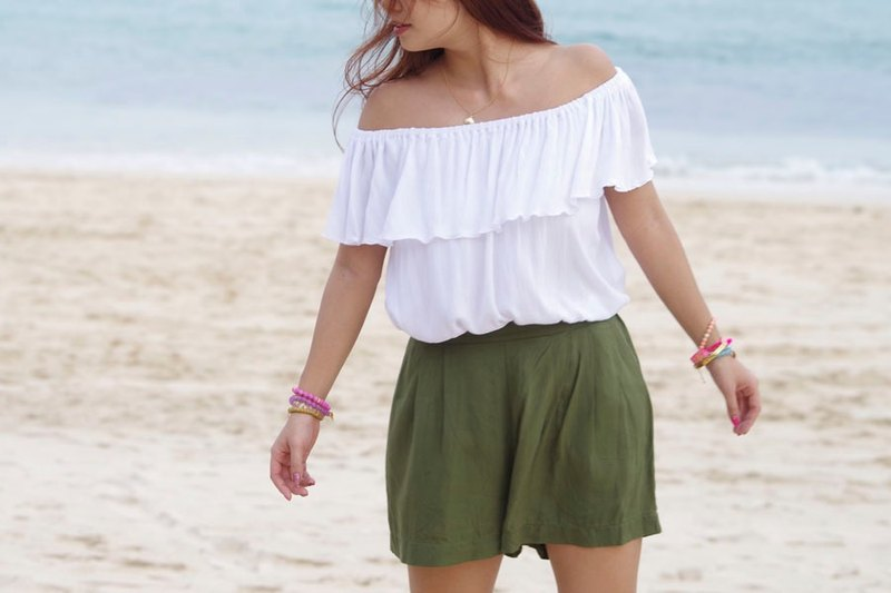 Resort shorts <Khaki>