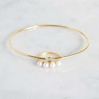 【Gold Vermeil / Gemstone】 4 Pearls Matt Gold Ring