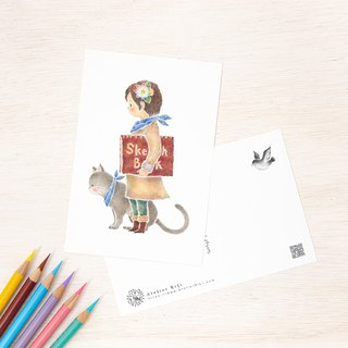 "4 pieces set. Like a picture book. Postcard ""Mikuru and cat peach"" PC-417"