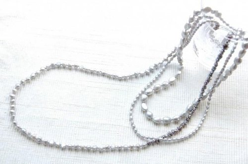 4 kinds of gray pearl long necklace
