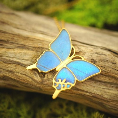 Large antique pendant of Morpho butterfly (diagonally)