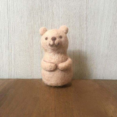 Matryoshka felt doll - light brown bear