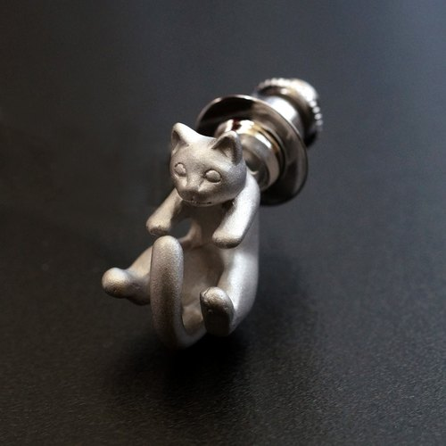 Cat pin brooch Rateyu (Silver)
