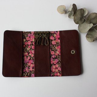 Key Case Brown of cow leather and Liberty print