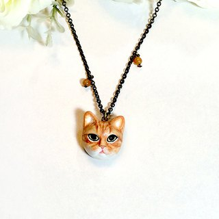 Orange cat necklace, Orange cat pendant, cat sculpture, cat lover gifts