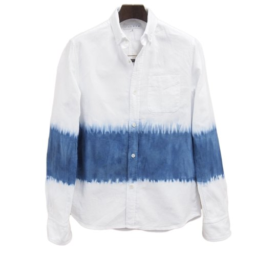 "Traditonal cotton fabric ""Chita-momen"" blue shibori shirt gender-less design hand dying made in Japan"