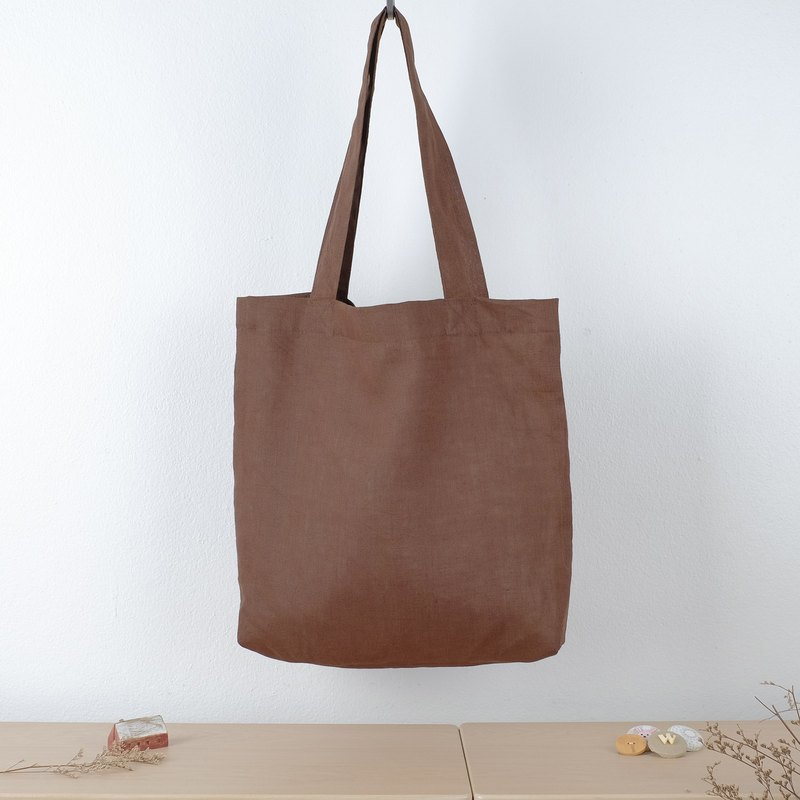 Chocolate Linen Tote Bag