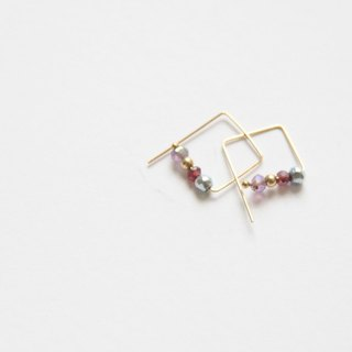 彩心情耳环/ Rainbow moon 14K GF earring