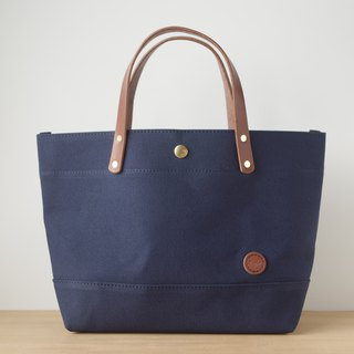 Leather Handle Canvas Tote Back
