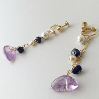 [I want to push the way I believed] Lapis lazuli and amethyst earrings or earrings