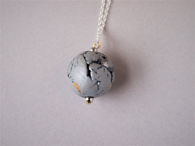 Porcelain necklace feeling gray moon