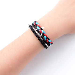 Triangle layered rope bracelet in black / candy blue / red