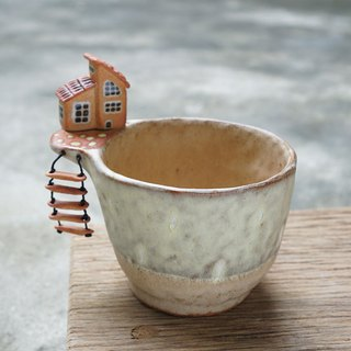 Plant pot with a houses,two tone,cactus,ceramics,pottery,handmade
