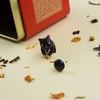 Black Maneki Neko Cat Earrings - Lucky Cat Earrings Polymer Clay