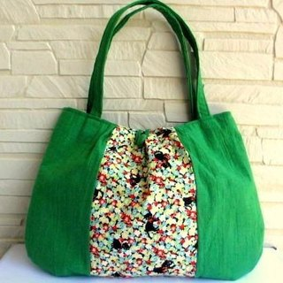 Half linen cat and soft flower shoulder bag * Green