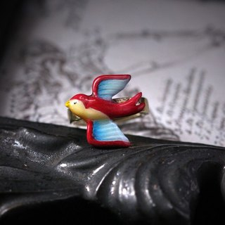 Small Single Bird Ring by Defy/ Hand Painting Version/Swallow Bird Single ring