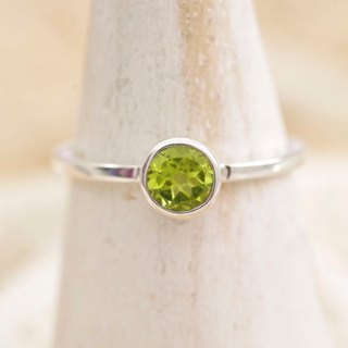 Silver ring of peridot