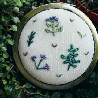 Herb Garden Embroidery | Hand-stitched Compact Mirror | Christmas Gift